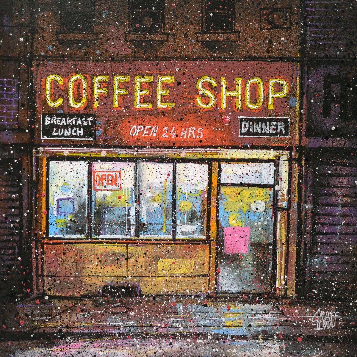 coffee shop at night